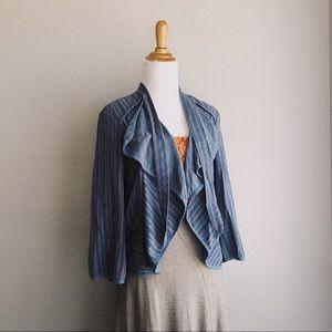 Slate Striped Drapey Open Front Blazer